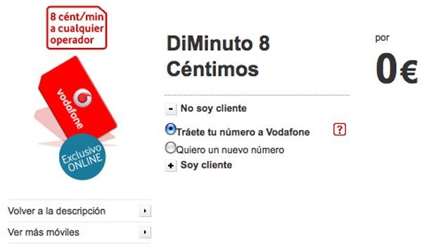 DiMinuto 8 de Vodafone, SMS y llamadas a 8 céntimos el minuto con Vodafone DiMinuto 8