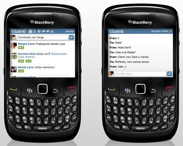 Tuenti en BlackBerry para móviles Vodafone