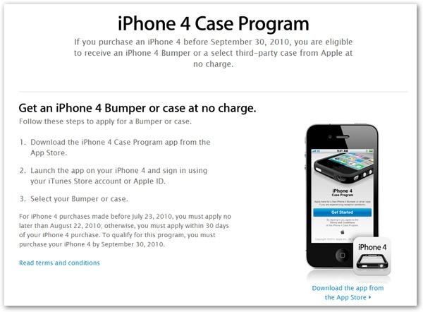 iPhone 4, Apple lanza una aplicación para pedir fundas gratis