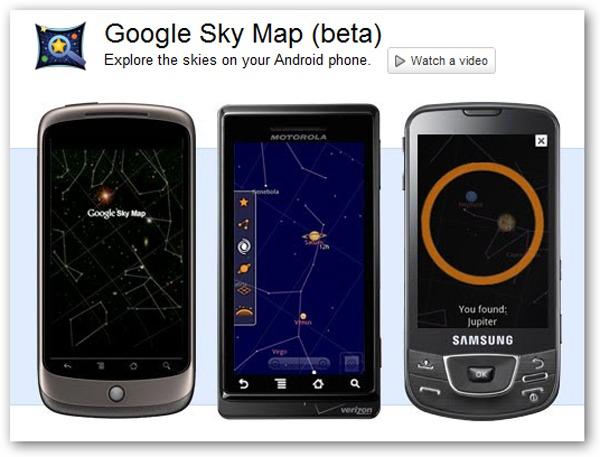 Google Sky Map, constelaciones, estrellas y planetas a través Android