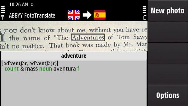 Nokia y ABBYY FotoTranslate, una aplicación de Nokia traduce palabras a partir de fotografías
