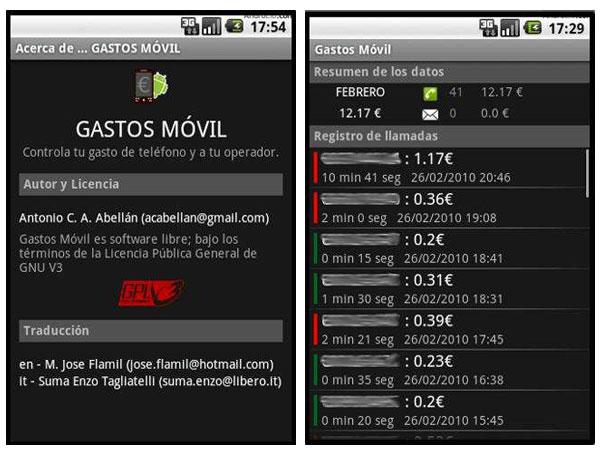 Gastos Móvil, aplicación gratis en Android para saber cuánto llevas gastado en llamadas y SMS