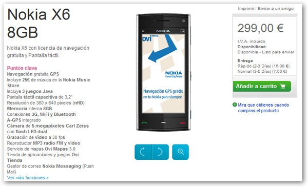 Nokia X6 8GB libre, precio del Nokia X6 8GB en España