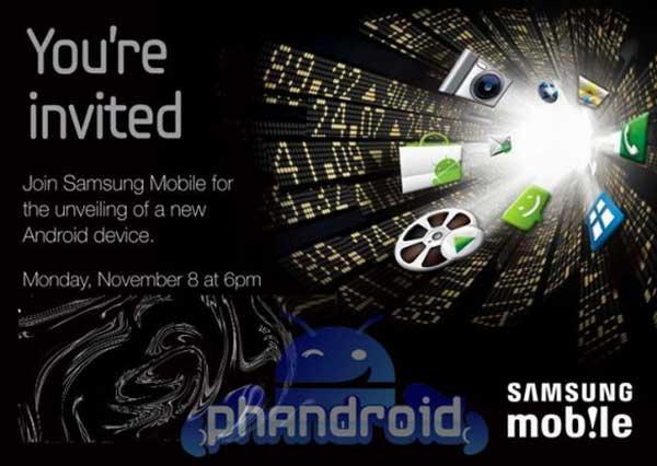 Samsung anuncia un nuevo dispositivo Android para el 8 de noviembre