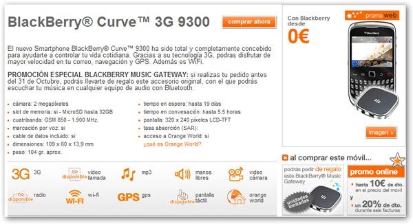 Blackberry Curve 3G con Orange, precios y tarifas con Orange