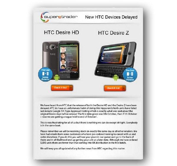 HTC Desire HD y HTC Desire Z, retrasan unos días la venta de los HTC Desire HD y HTC Desire Z