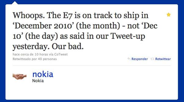 Nokia E7, empezará a venderse en diciembre, pero no desde el 10 de diciembre
