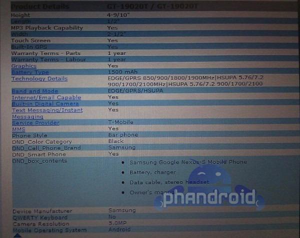 Samsung Nexus S, tendrá procesador de doble núcleo y cámara de 5 megapíxeles