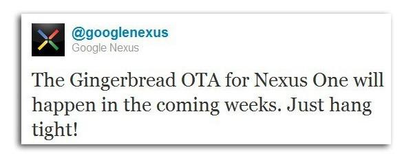 Android 2.3 Gingerbread, Google no confirma el día oficial de la actualización del Nexus One