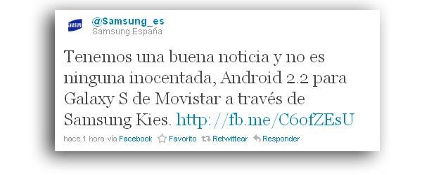 Samsung Galaxy S Movistar, Android 2.2 Froyo ya está disponible en los Galaxy S de Movistar