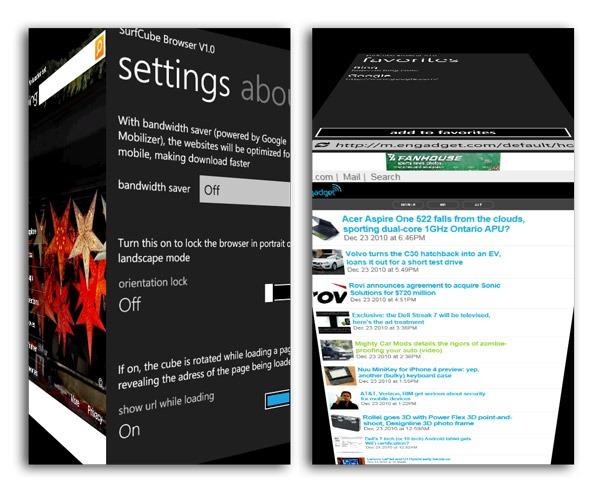 Windows Phone 7, SurfCube 3D convierte los menús de WP7 en un cubo 3D