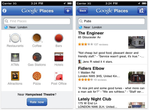 iPhone, Google Places disponible para iPhone con Hotpot