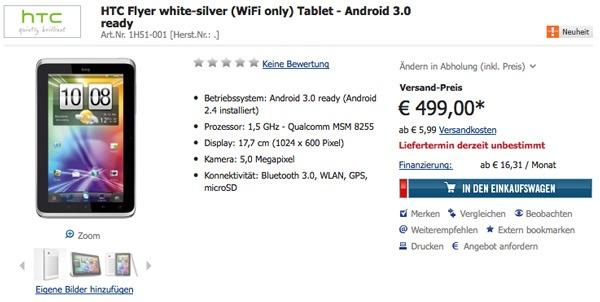 HTC Flyer, la versión Wi-Fi costaría 500 euros
