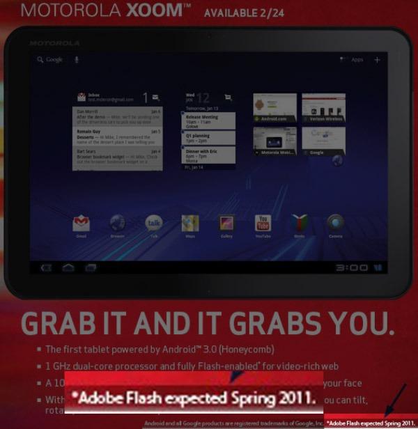 Motorola Xoom, a la venta desde el 24 de febrero sin soporte Flash