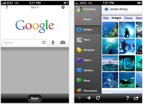 iPhone y Google Search, nueva versión de Google Search para iPhone