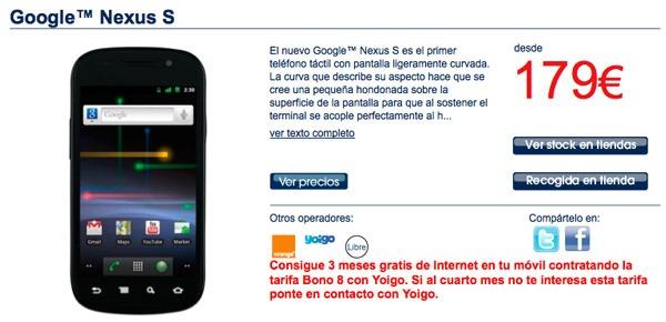 Nexus S con Orange, precios y tarifas del Google Nexus S con Orange