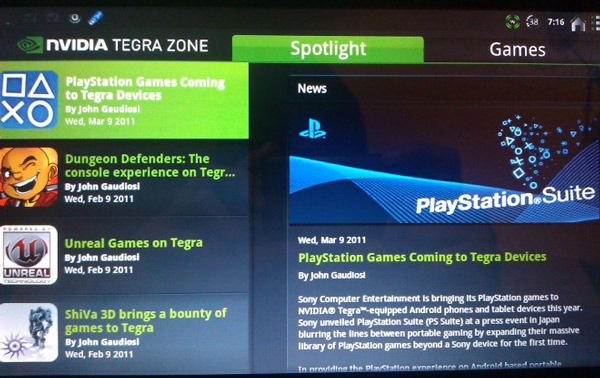 Tegra Zone ofrecerá juegos de PlayStation para móviles Android