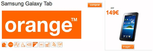 Samsung Galaxy Tab, Orange rebaja el precio del Samsung Galaxy Tab