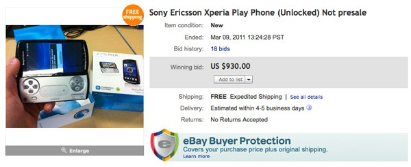 Sony Ericsson XPERIA Play, en eBay ya se vendió el móvil de PlayStation