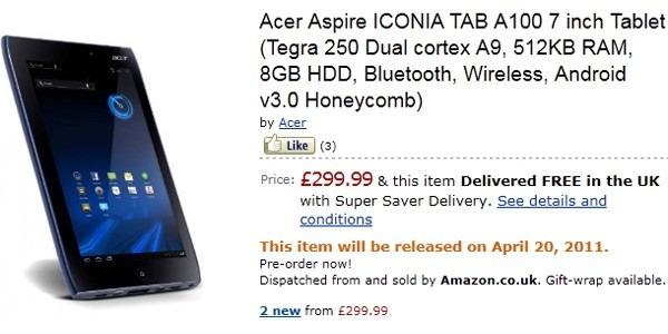 Acer Iconia Tab, a la venta desde el próximo 20 de abril con Android 3.0 Honeycomb