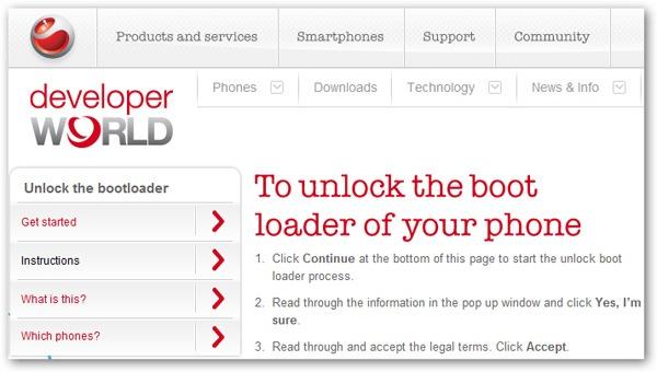 Sony Ericsson XPERIA, Sony Ericsson publica algunos códigos de desbloqueo