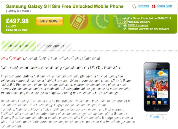 Samsung Galaxy S II, aparece por 565 euros en Reino Unido