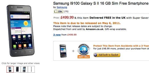 Samsung Galaxy S II, Amazon UK lo vende por 570 euros desde el 6 de mayo