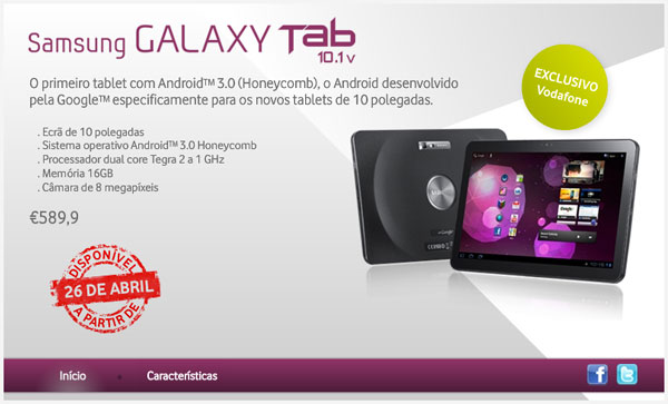 Samsung Galaxy Tab 10.1v, Vodafone Portugal lanza hoy la nueva tableta de Samsung