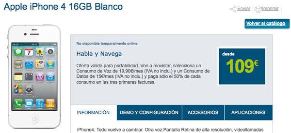 iPhone 4 Blanco con Movistar, precios y tarifas del iPhone 4 Blanco con Movistar