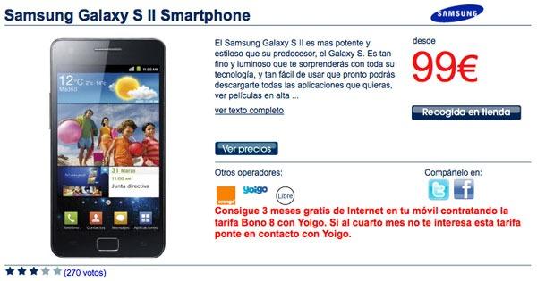 Samsung Galaxy S II con Yoigo, precios y tarifas del Samsung Galaxy S II con Yoigo
