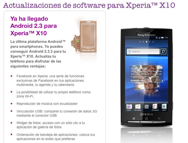 La actualización a Gingerbread llega al Sony Ericsson Xperia X10 2