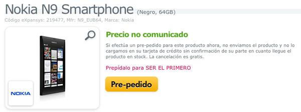 Nokia N9 aparece para su reserva en Expansys España