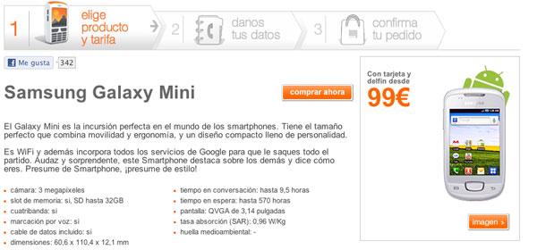Samsung Galaxy mini prepago con Orange, precios y tarifas