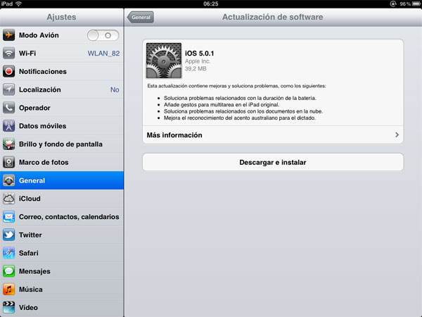 iOS 5.0.1 para iPhone y iPad, disponible para descargar