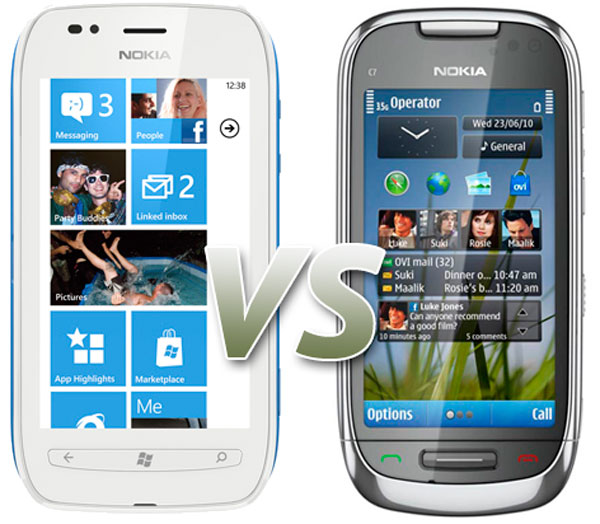Comparativa: Nokia Lumia 710 vs Nokia C7