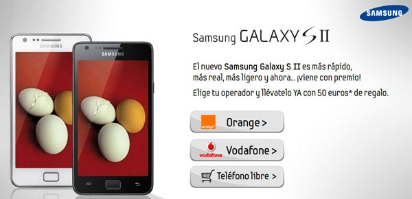 Samsung regala 50 euros comprando un Samsung Galaxy S2