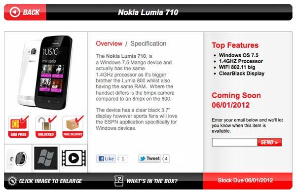 El Nokia Lumia 710 podría ponerse a la venta el 6 de enero