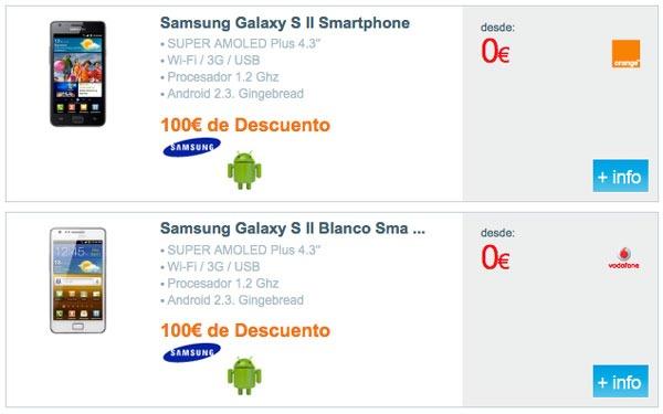 Hasta 100 euros de descuento para comprar el Samsung Galaxy S2