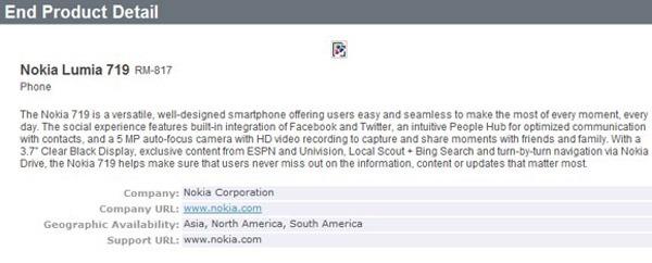 Filtradas las especificaciones del Nokia Lumia 719