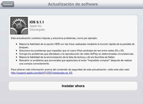iOS 5.1.1 para iPhone y iPad, nueva actualización