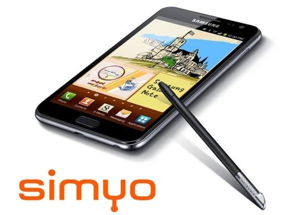 Samsung Galaxy Note con Simyo, precios y tarifas