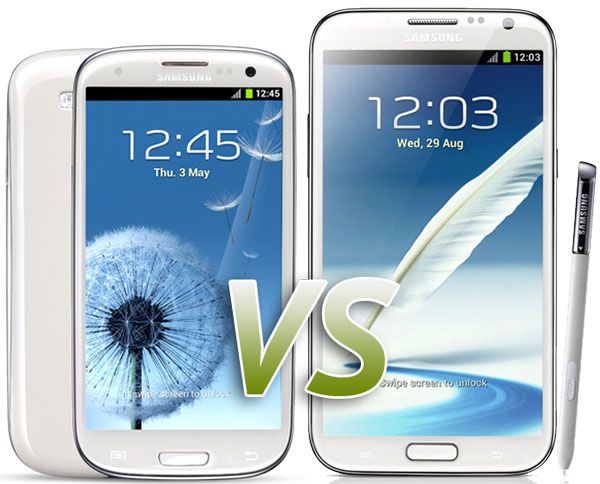 Comparativa: Samsung Galaxy S3 vs Samsung Galaxy Note 2