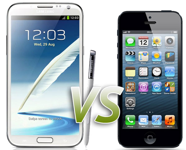 Comparativa: Samsung Galaxy Note 2 vs iPhone 5