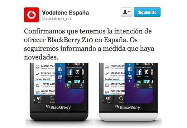 Vodafone, Orange y Yoigo ofrecerán la BlackBerry Z10 en España