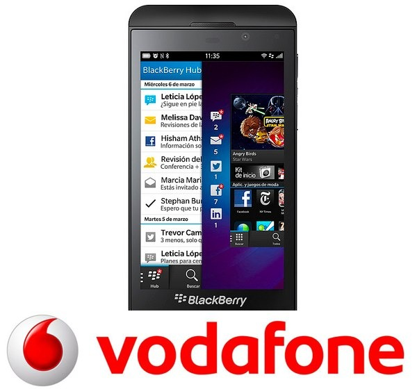 BlackBerry Z10, tarifas con Vodafone