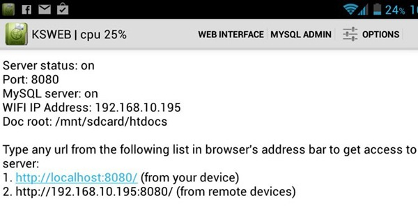 Alojar una página web en un terminal con sistema operativo Android