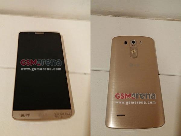 Aparece una imagen del LG G3 en color dorado