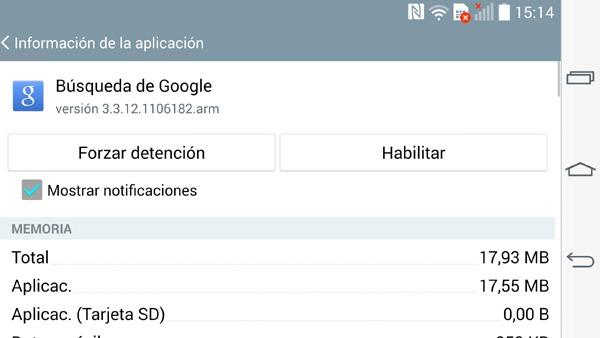 Desactivar barra de búsquedas de Google en Android