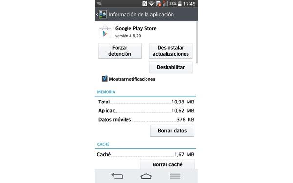 Error 961 al instalar una aplicación en Android