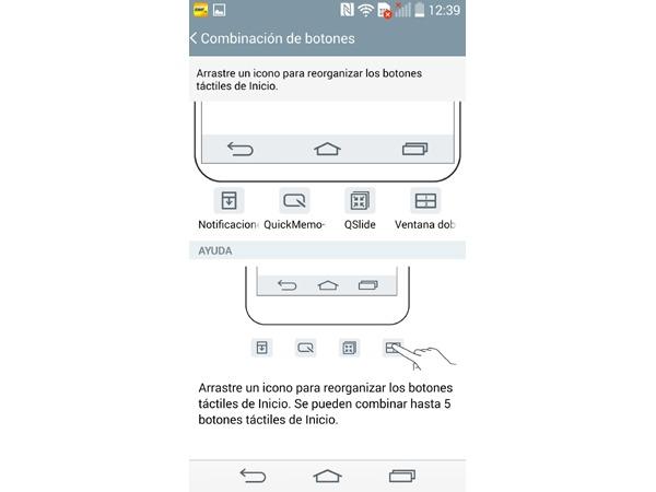 Personalizar botones virtuales en pantalla en el LG G3